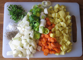 Grøntsager skåret i tern