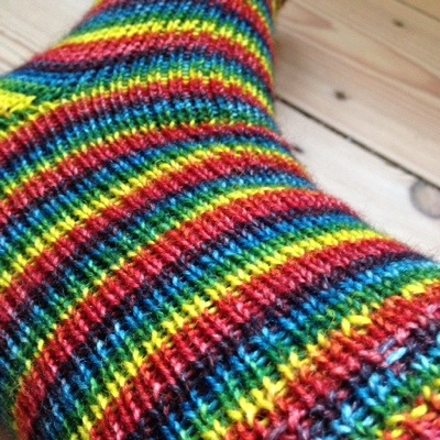 Rainbow self striping socks